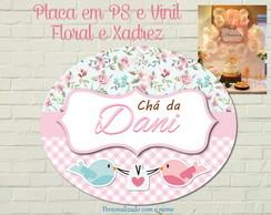 Placa Impressa Floral e Xadrez LUXO