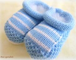 Sapatinho de Tric� Azul Beb�