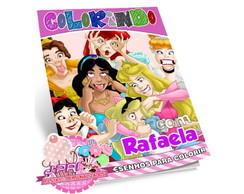 Kit Colorir Princesas + Giz de Cera