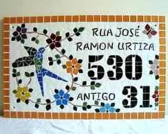 Placa residencial em mosaico 57x35 cm