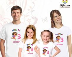Kit 4 camisetas- Dora Aventureira 01