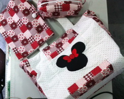 Kit Bolsa Minnie,Porta caderno e estojo.