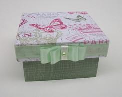 Caixa Decorada Borboletinha Rosa e Verde