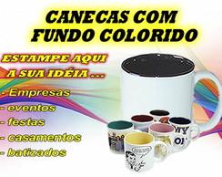 CANECA DE PORCELANA COM FUNDO COLORIDO