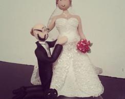 Topo de bolo Casamento - Noiva gr�vida
