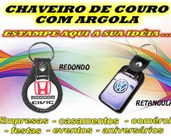 CHAVEIRO DE COURO COM ARGOLA PERSONALIZA