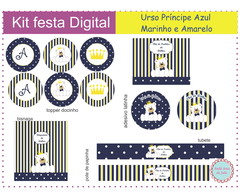 Kit Digital Urso Real Azul e Amarelo