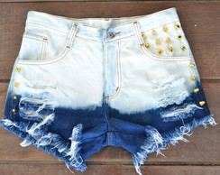 Short jeans customizado ombre com spike