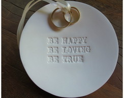 Porta alian�as porcelana fosca Be happy