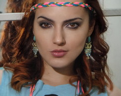 Headband Rosa Fl�or e Azul