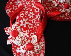 Sand�lia havaiana vermelha e branca