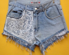 Short Jeans Feminino Customizado Renda