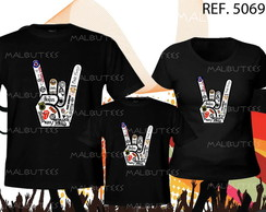 camiseta m�o de rock kit com 3