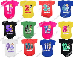 kit de 12 body infantil princesas