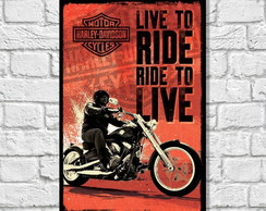 Placa Decorativa Motos Ride