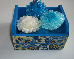 Mini Caixote Decorado - Cris�ntemo Azul