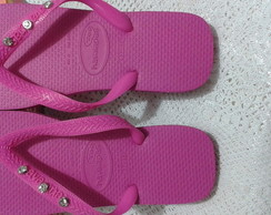 chinelo havaiana customizado c, estrass
