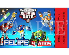 Arte Convite Digital - Rescue Bots