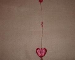 Pingente  cortina cora��o rosa