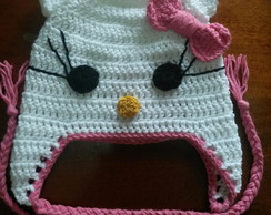 Touca em croche Hello Kitty