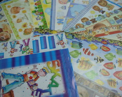 kit 5 com pap�is de decoupage menino