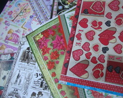 kit 3 com pap�is de decoupage variado
