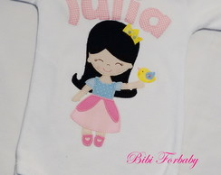 Body Infantil Princesinha Blue