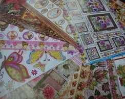 kit 2 com pap�is de decoupage variado