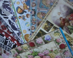 kit 1 com pap�is de decoupage variado