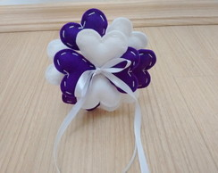 Mini Buqu� Porta Alian�as Roxo e Branco