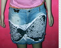 Saia jeans customizada butterfly