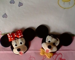Aplique carinha do mickey e minie biscui