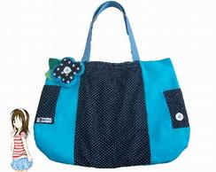 Bolsa grande azul c/ flor