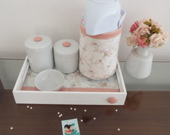 Kit Porcelana Off White & Rosa Antigo