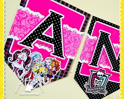 Bandeirola Varal de Letras Monster High