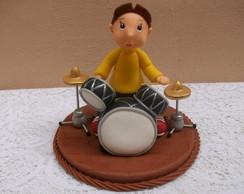 Topo de bolo - menino tocando bateria