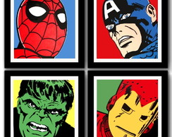 Kit 4 Quadros Marvel Comics Pop Art