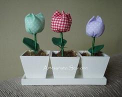 Trio Cachep� Tulipa Tecido
