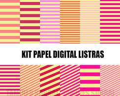 Kit papel digital Listras