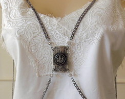 Body Chain Colar De Corpo Silver Queen