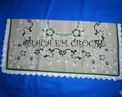 Toalha de Ch� Linho barrado em croch�
