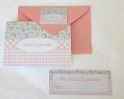 Kit Cart�o: Shabby Azul e Rosa