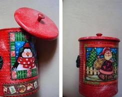 Lata Vermelha Noel e pinguim