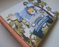 �lbum scrapbook Costurado Safari