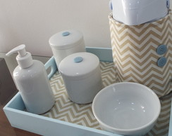 Cole��o Chevron - Kit Bege&Azul Beb� BL