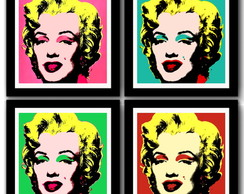 Kit 4 Quadros Marilyn Warhol Pop Art