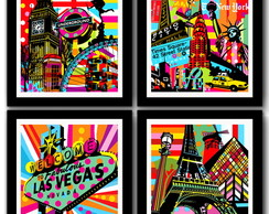 Kit 4 Quadros Famous Cities Colors