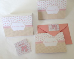 Kit Cart�o: Shabby Rosa e Bege