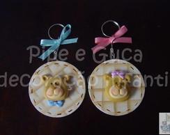 (LC 0098) Chaveiro ursinhos em biscuit