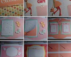 Scrapbook c p�ginas decoradas e envelope